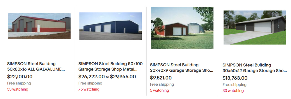Simpson Steel Buildings on eBay